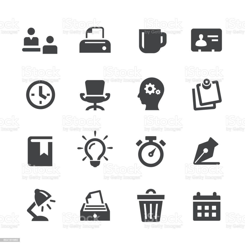Office Work Icons Set - Acme Series vector art illustration