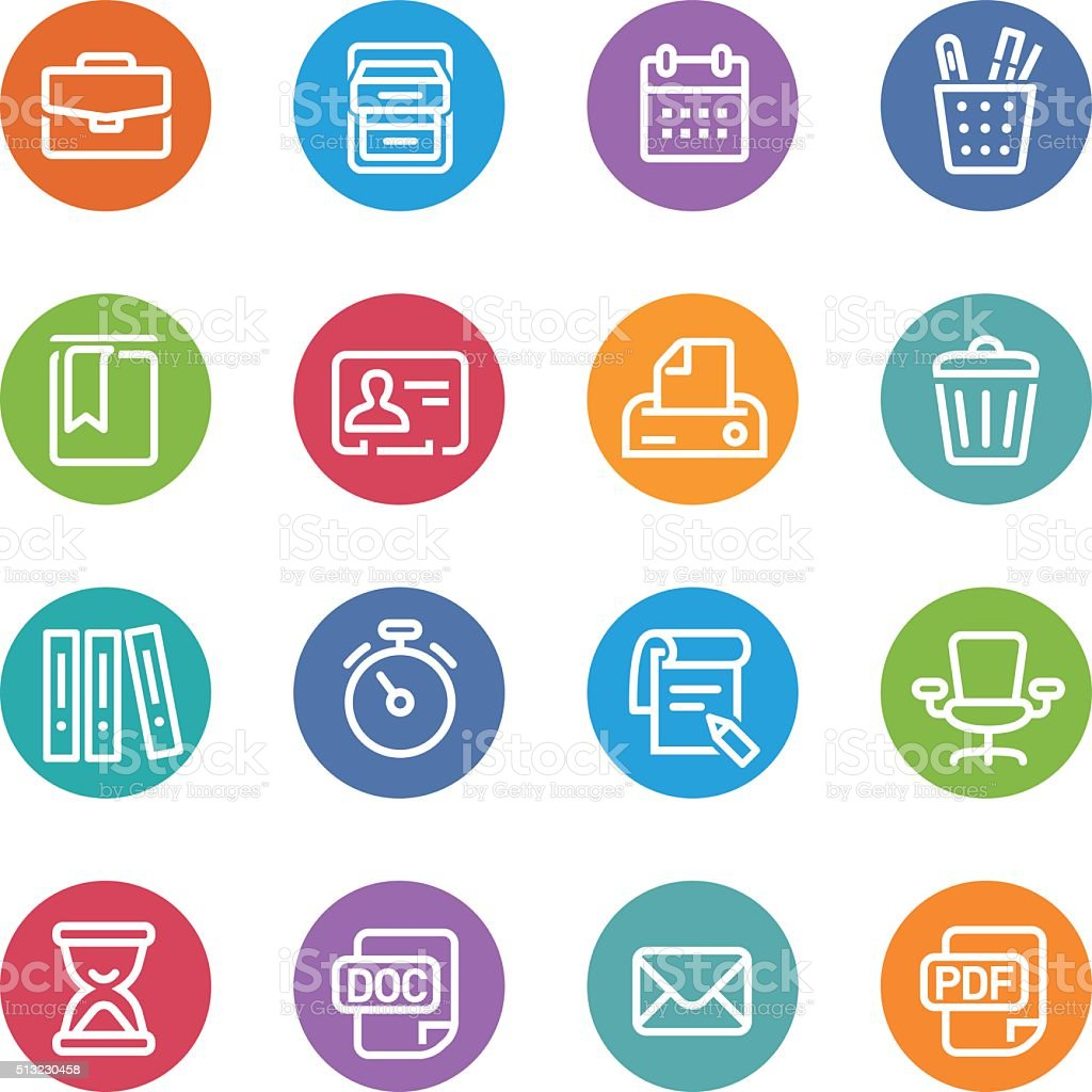 Office Work Icons Set - Circle Line Series vector art illustration