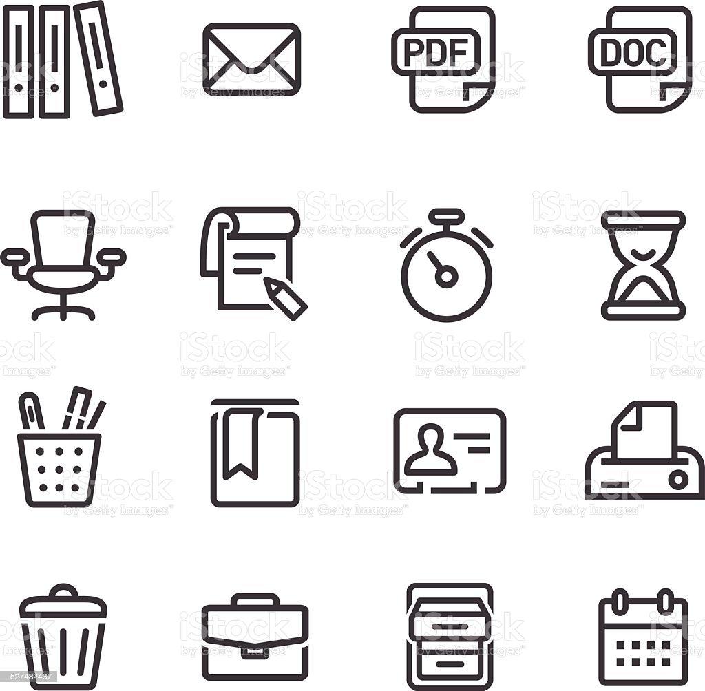 Office Work Icons Set - Line Series vector art illustration