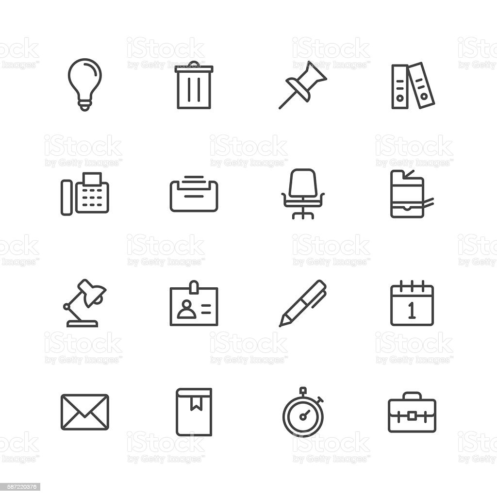 Office work icons vector art illustration