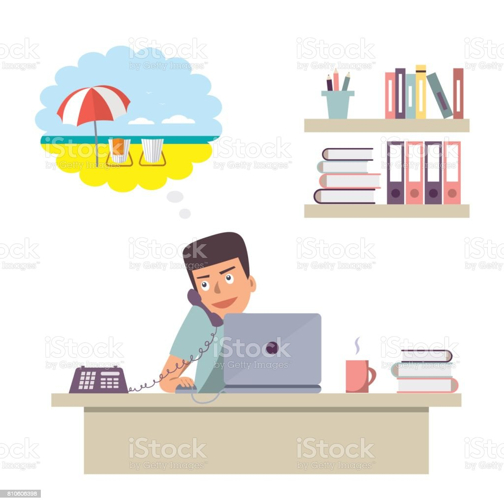 Office worker answering the call and dreaming about vacation on the beach vector art illustration