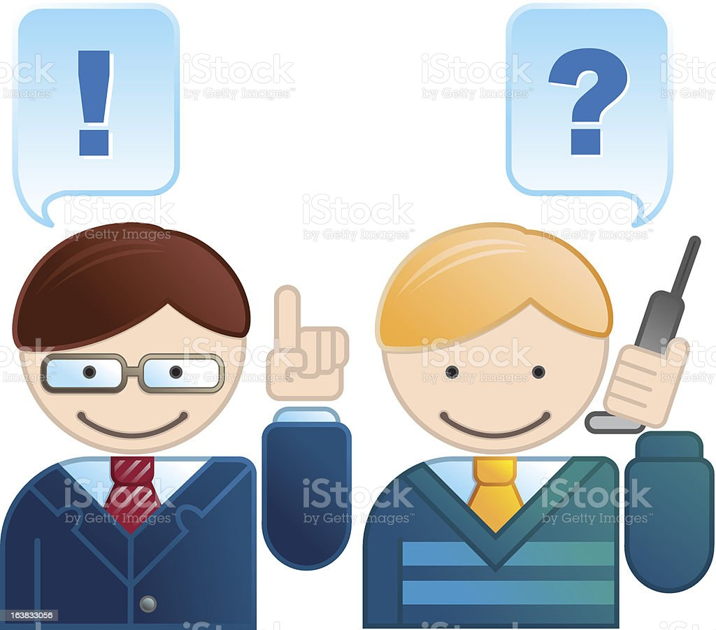 Office worker client with phone royalty-free stock vector art