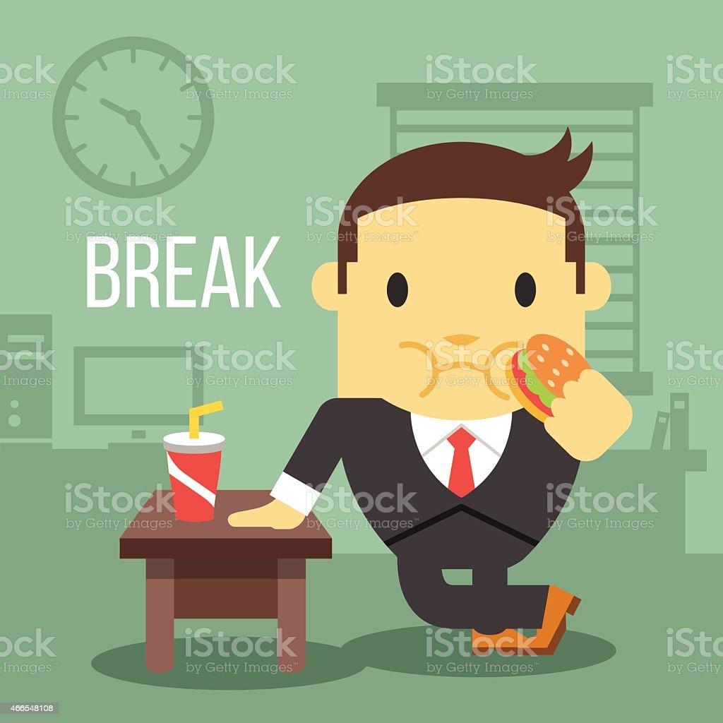 Office worker eating hamburger. Break time concept. vector art illustration