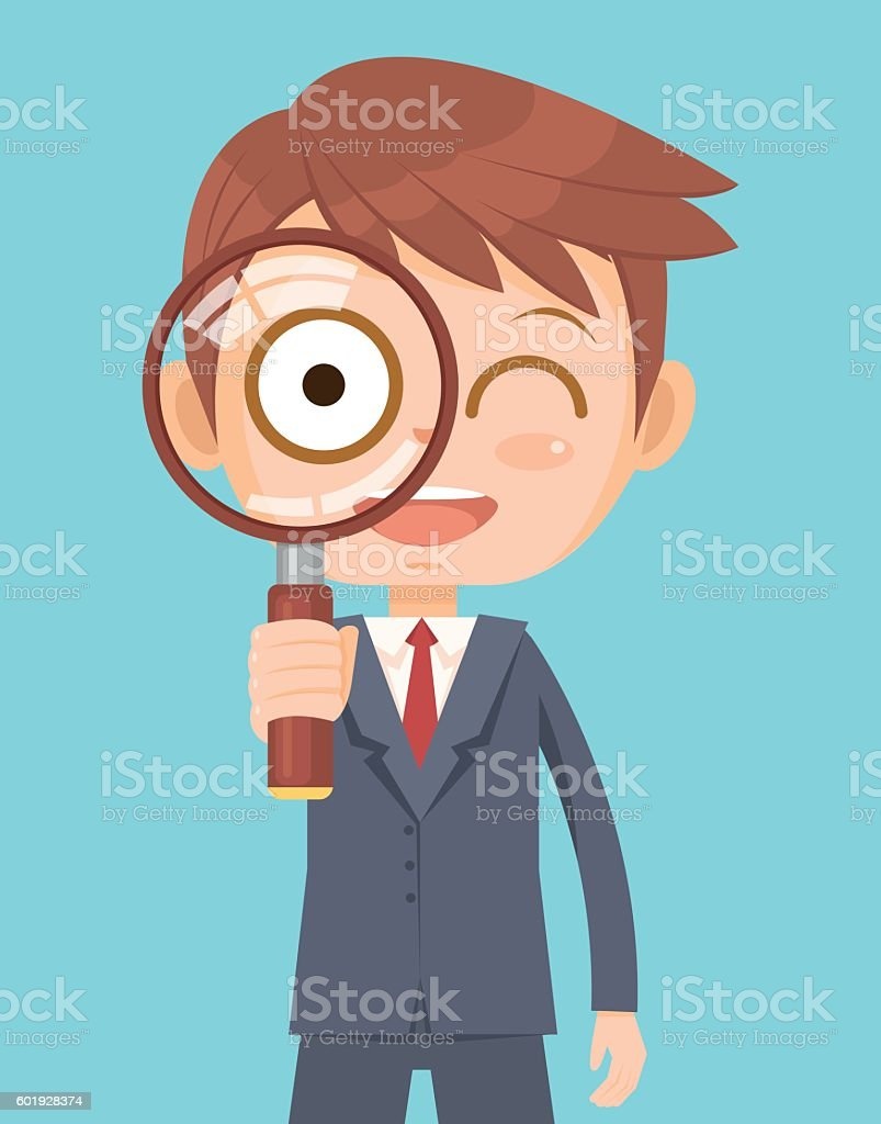 Office worker man looking through magnifying glass vector art illustration