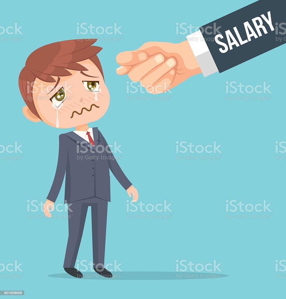 Office worker man waiting for salary vector art illustration