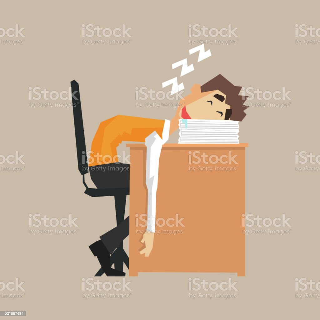 Office Worker Sleeping On Pile Of Papers vector art illustration