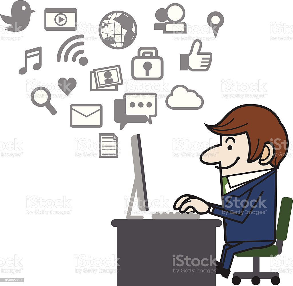 Office worker using a computer royalty-free stock vector art