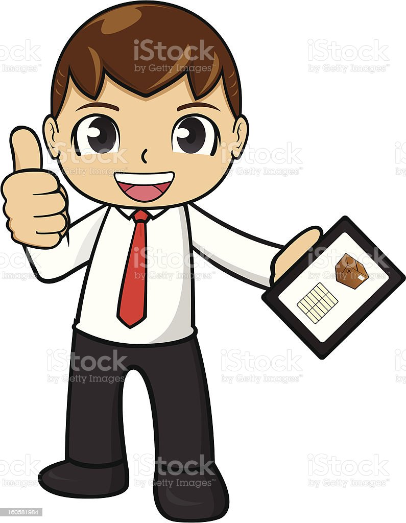 Office Worker with Mobile Phone royalty-free stock vector art