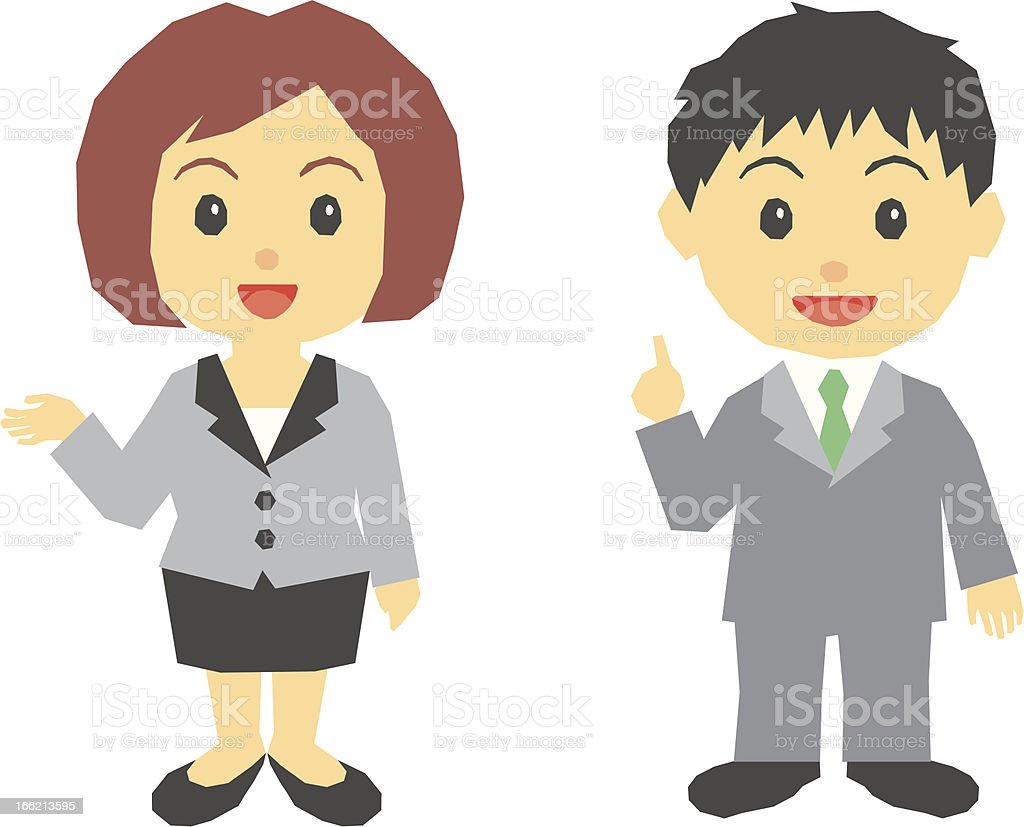 Office worker, woman,man,guide royalty-free stock vector art