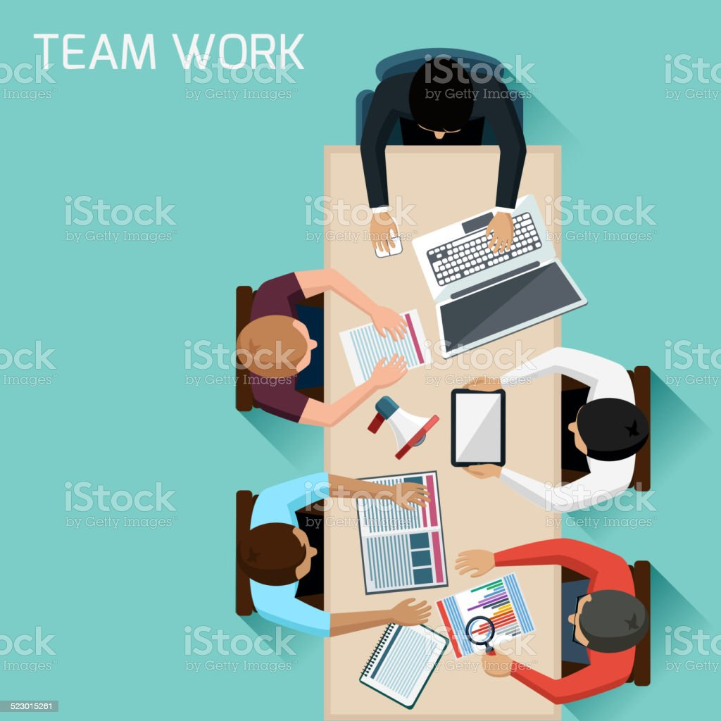 Office workers on meeting and brainstorming vector art illustration