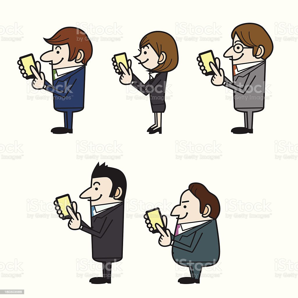 Office workers using smartphone royalty-free stock vector art