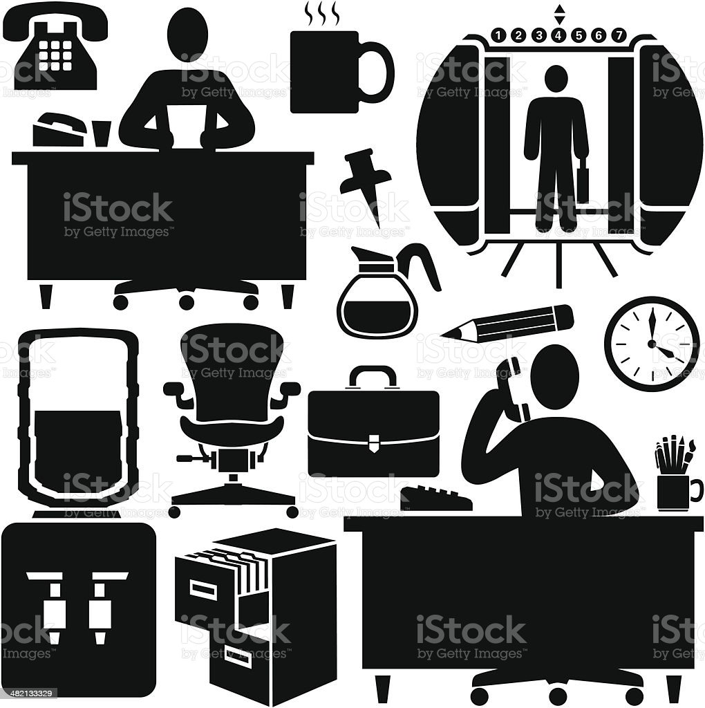 office workers vector art illustration