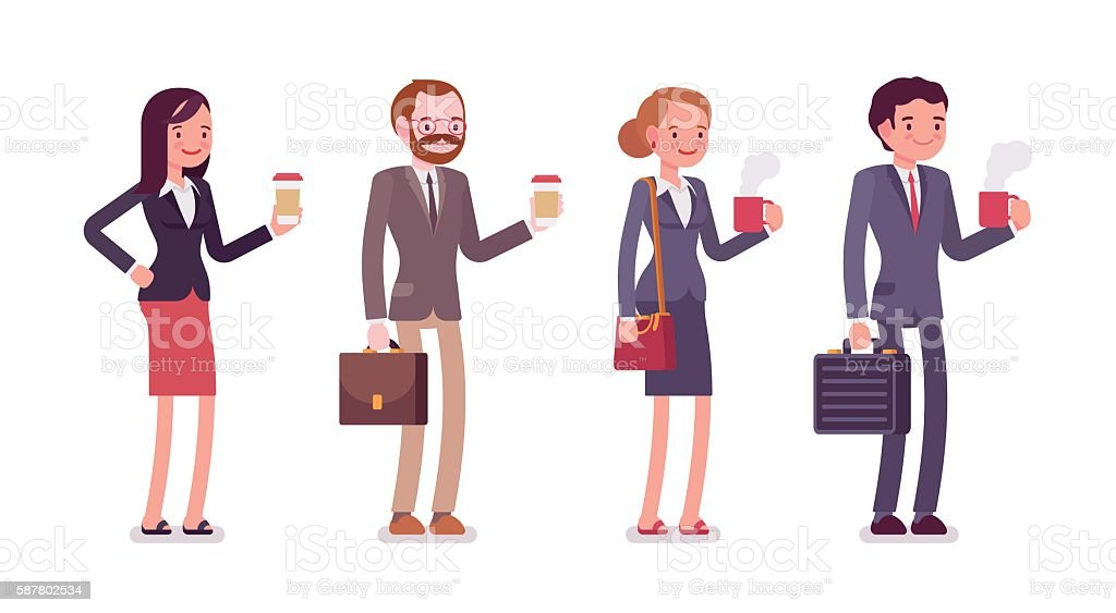 Office workers with coffee vector art illustration