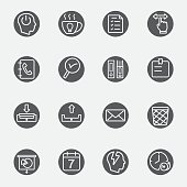 Office working black circles line icon