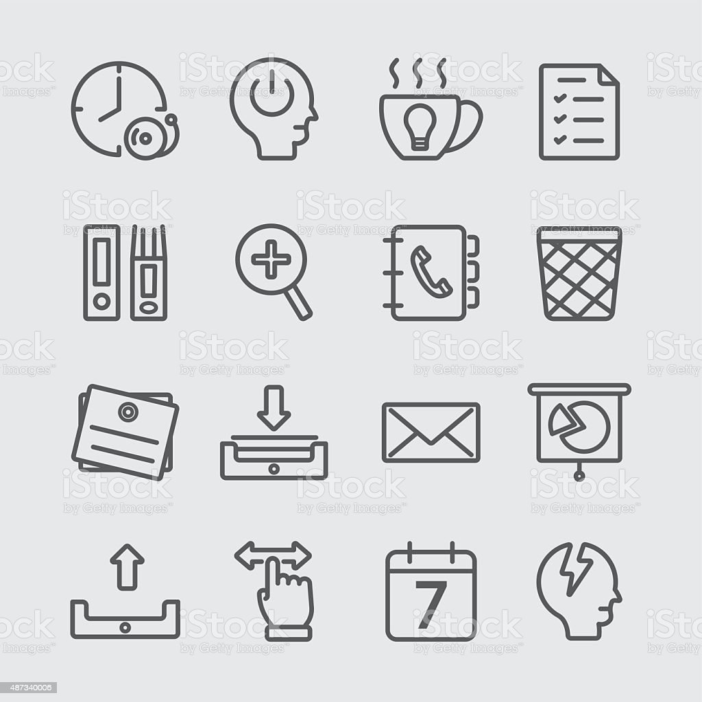 Office working line icon vector art illustration