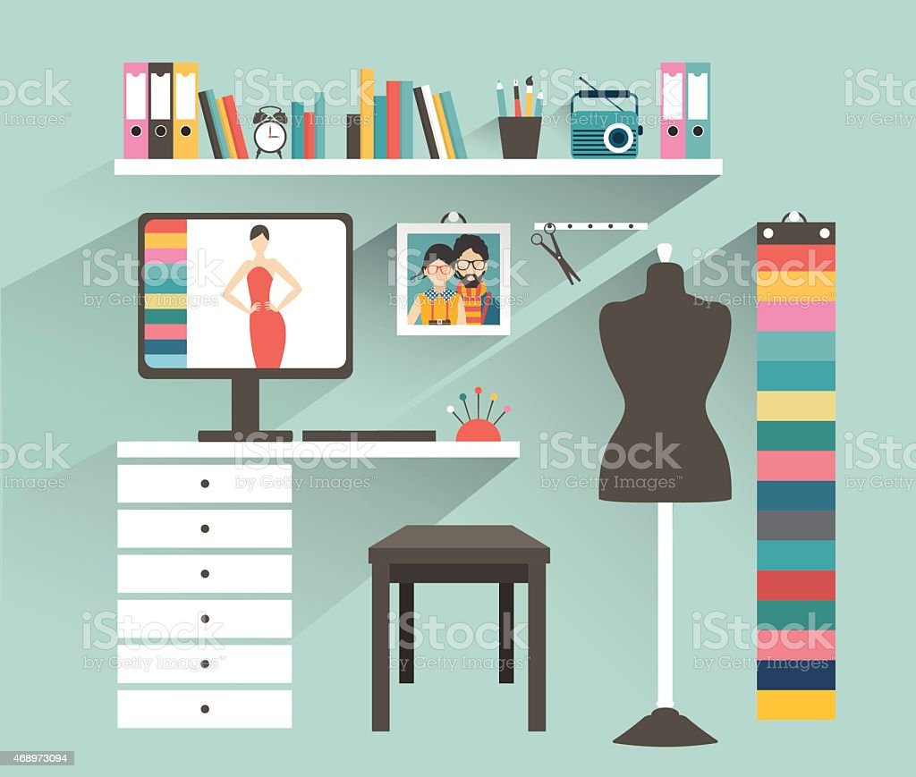 Office workplace. Fashion designer office. Flat design vector illustration. vector art illustration