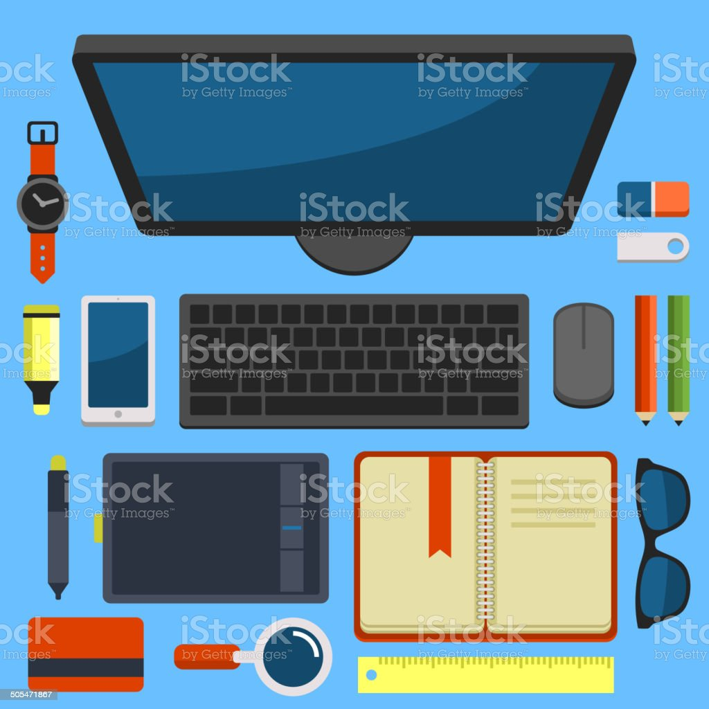 Office Workplace Top View in Flat Design Vector royalty-free stock vector art
