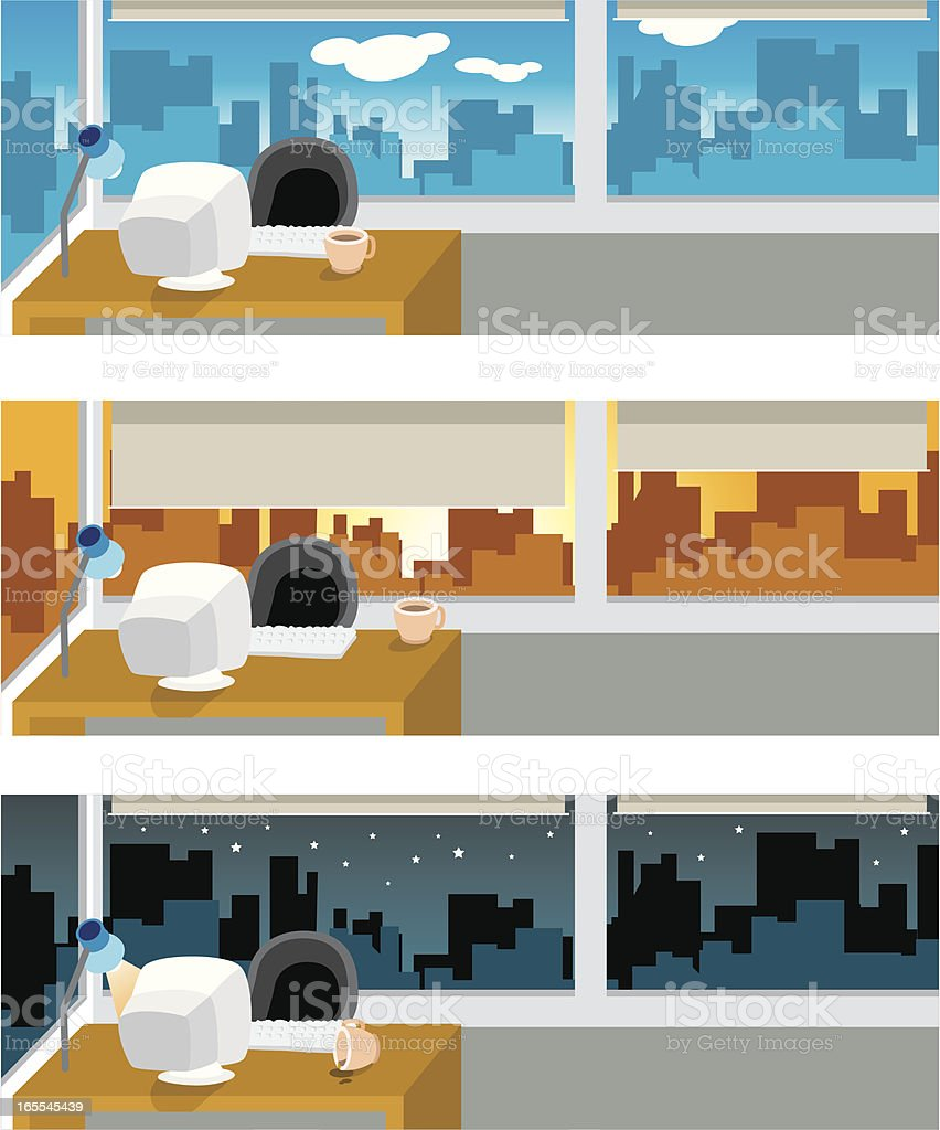 office works from day to night! vector art illustration