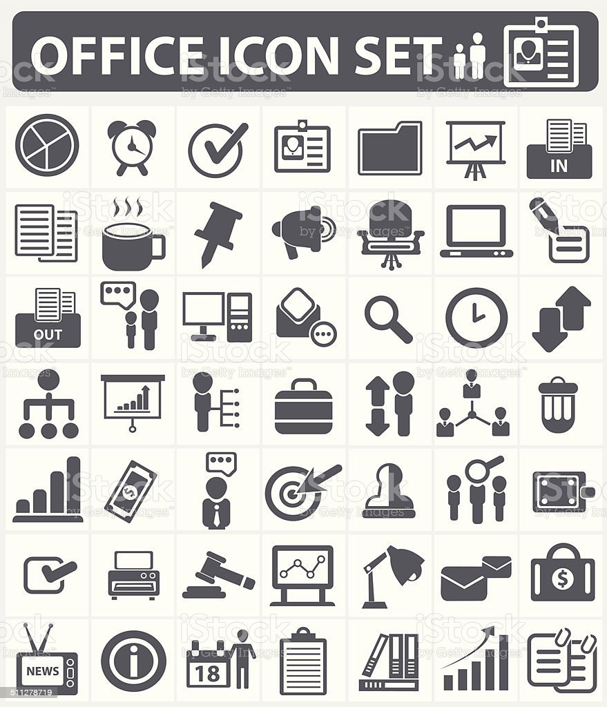Office,human resource and business icon set,vector vector art illustration