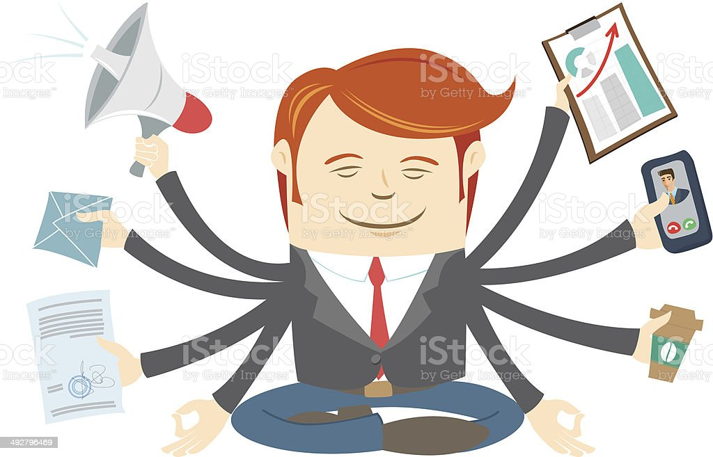 Officeman with eight hands meditating in the middle of workday royalty-free stock vector art