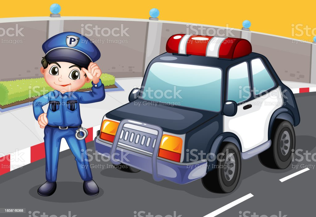 officer and his patrol car royalty-free stock vector art