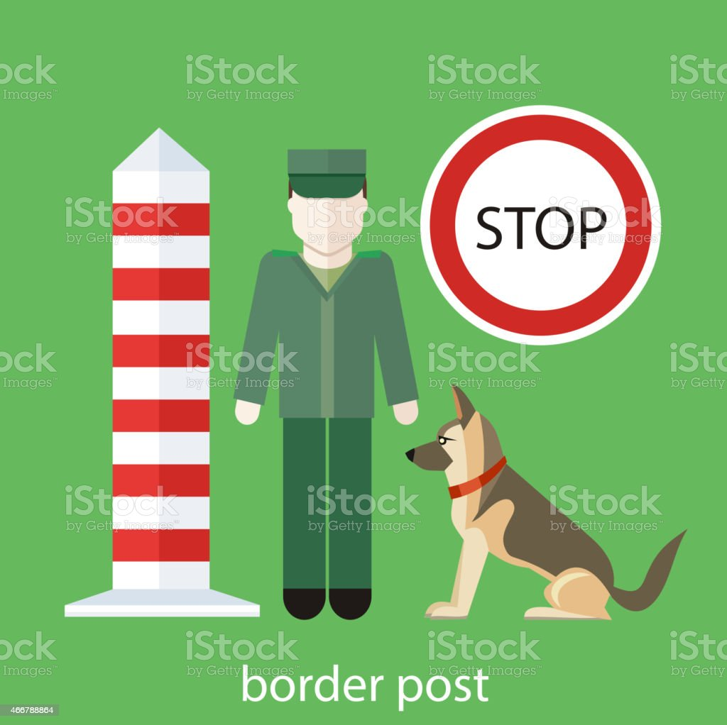 Officer custom control sign vector art illustration