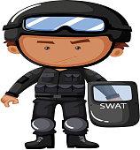 SWAT officer in safety uniform