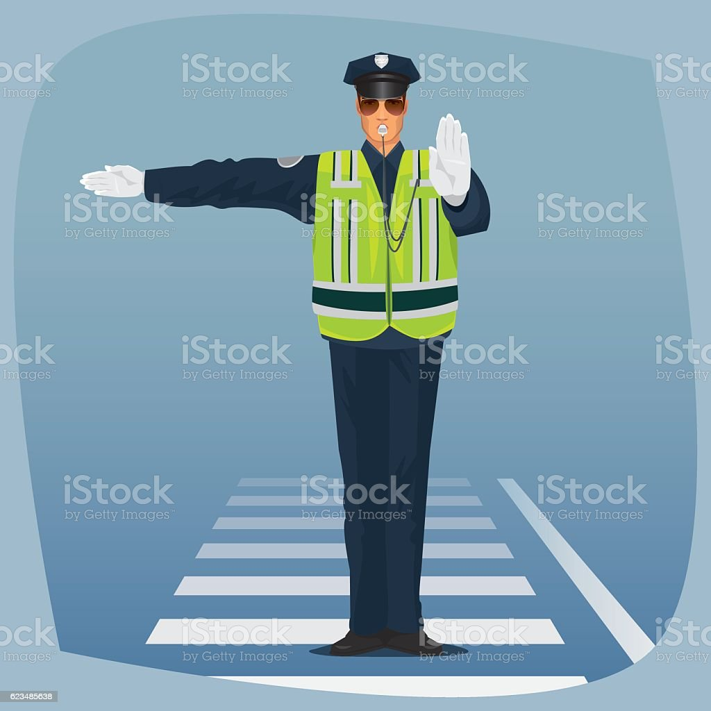 Officer of traffic police standing at crossroads vector art illustration