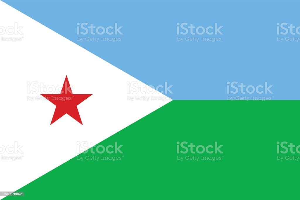 Official vector flag of Djibouti . Republic of Djibouti . vector art illustration