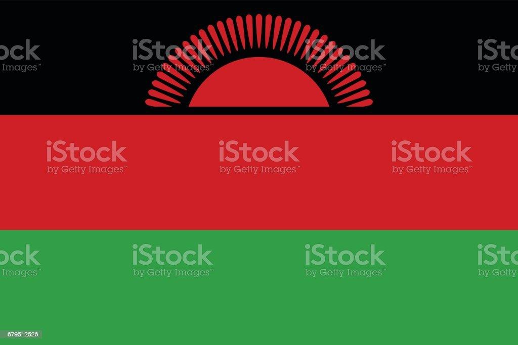 Official vector flag of Republic of Malawi . vector art illustration