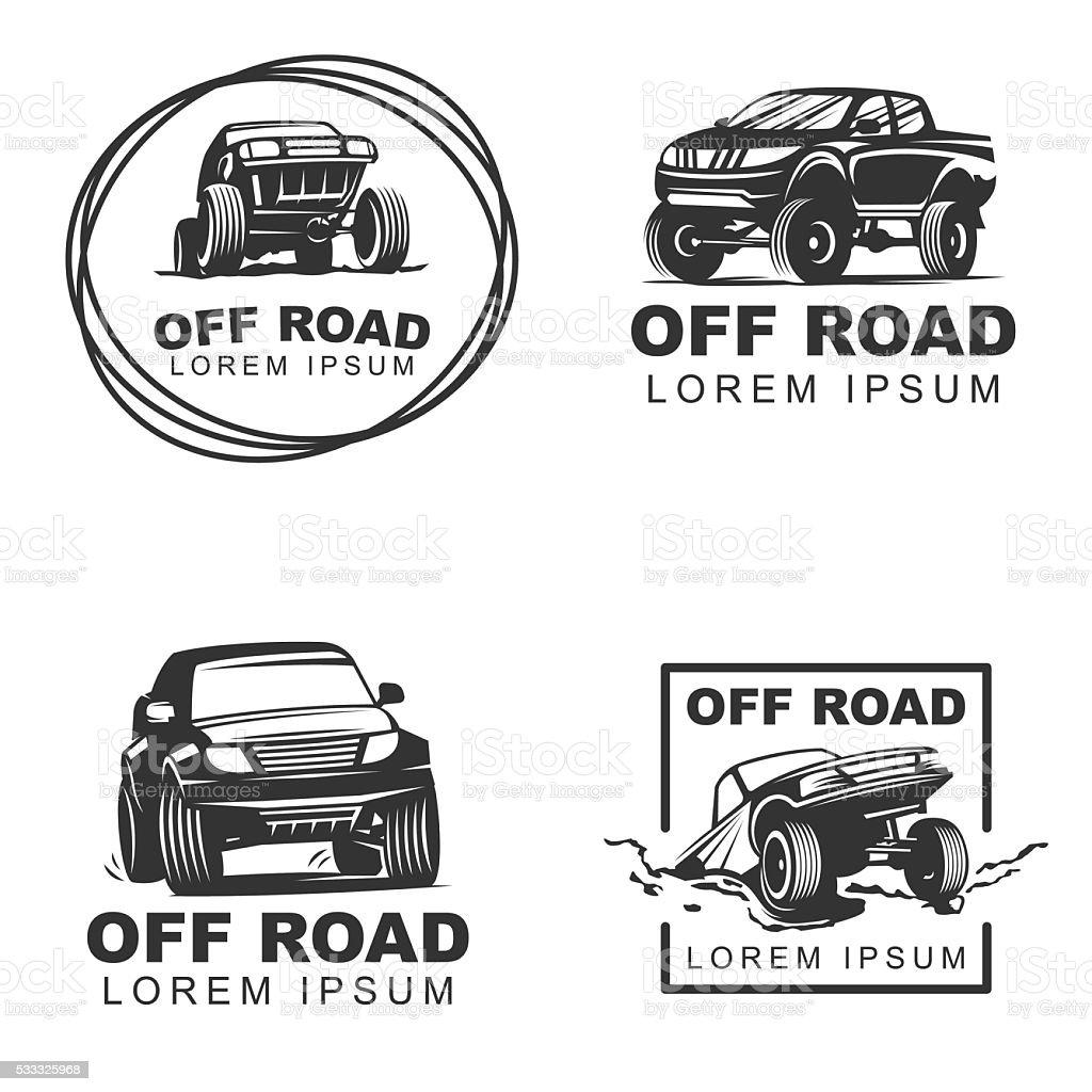 offroad set emblems2 vector art illustration