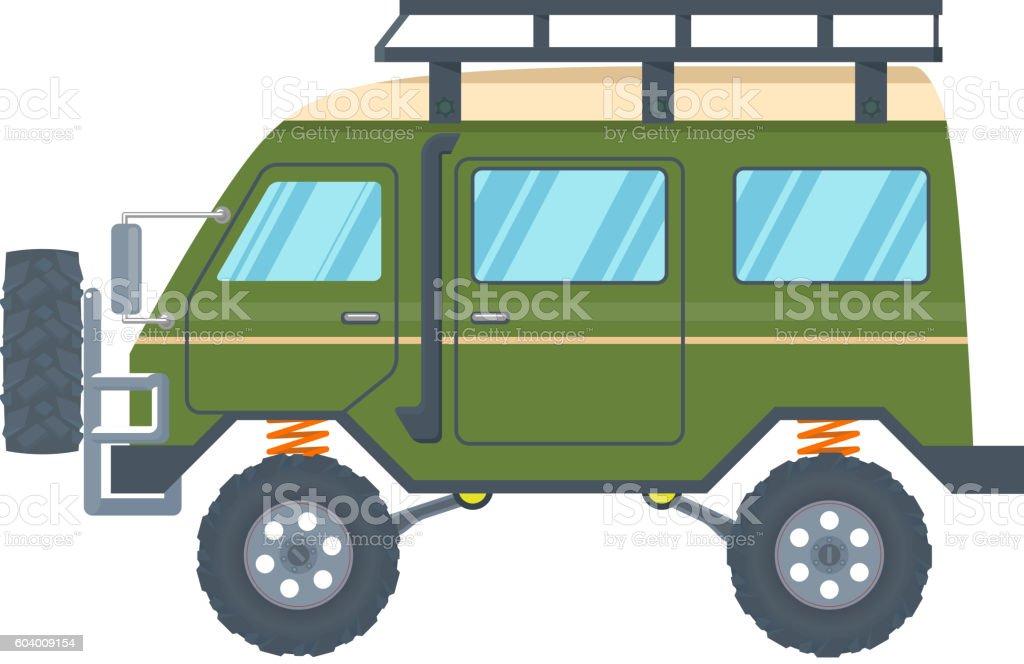 Off-road Vehicle Van with mud tire. Vector vector art illustration