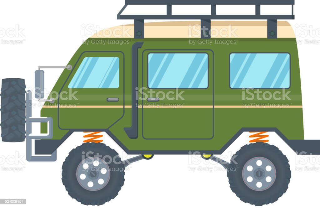 Off-road Vehicle Van with mud tire. Vector vector art illustration