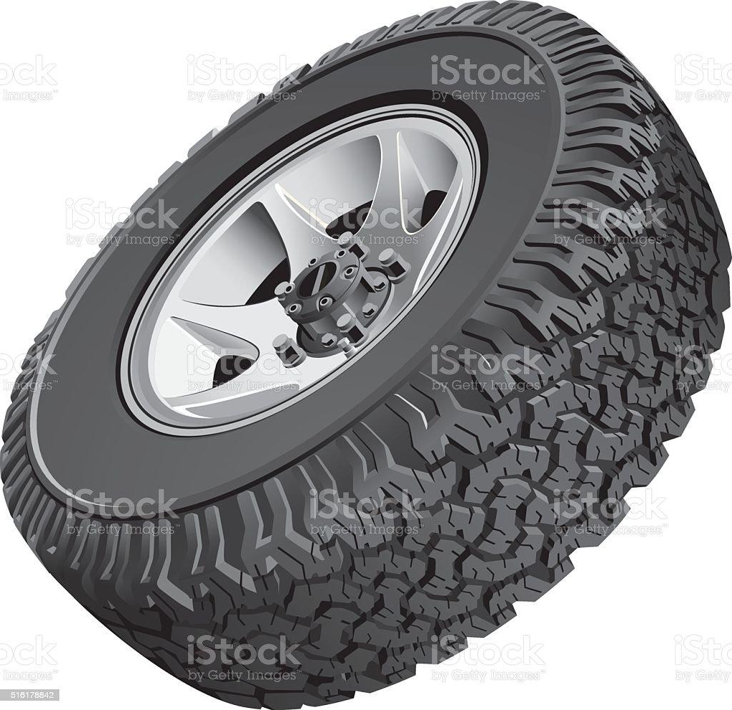 Offroad vehicles wheel vector art illustration