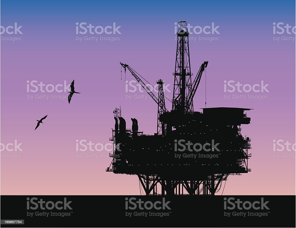 Offshore Drilling vector art illustration