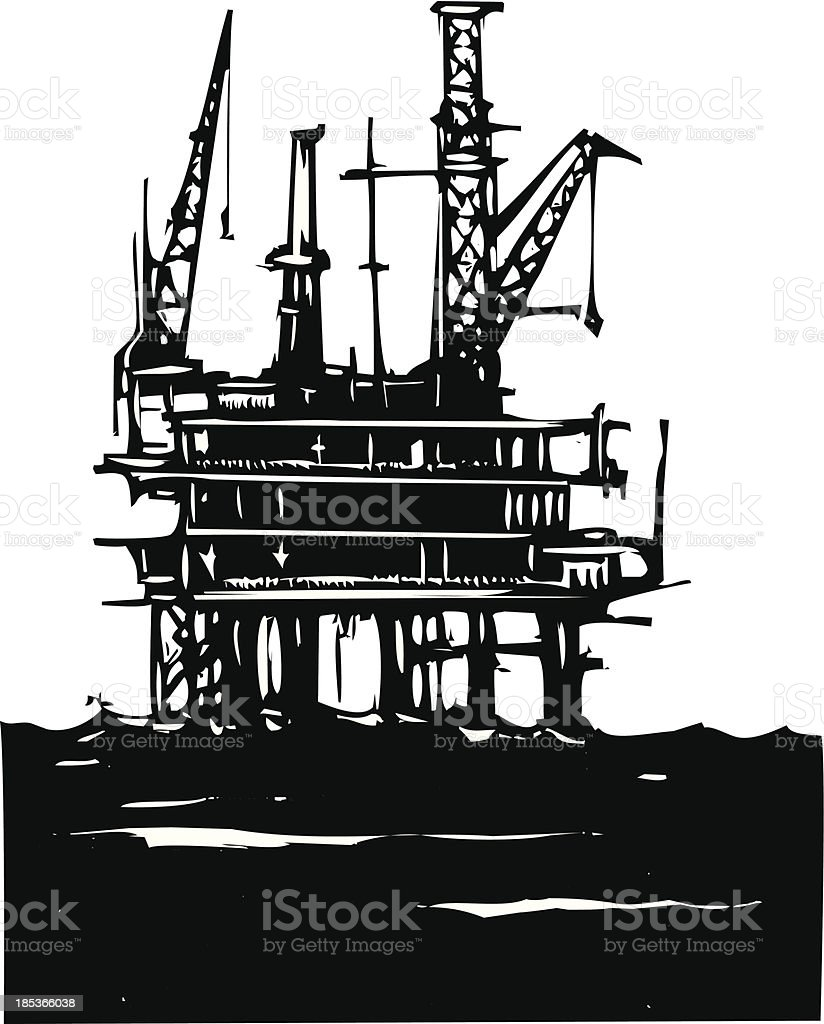 Offshore Oil Rig royalty-free stock vector art