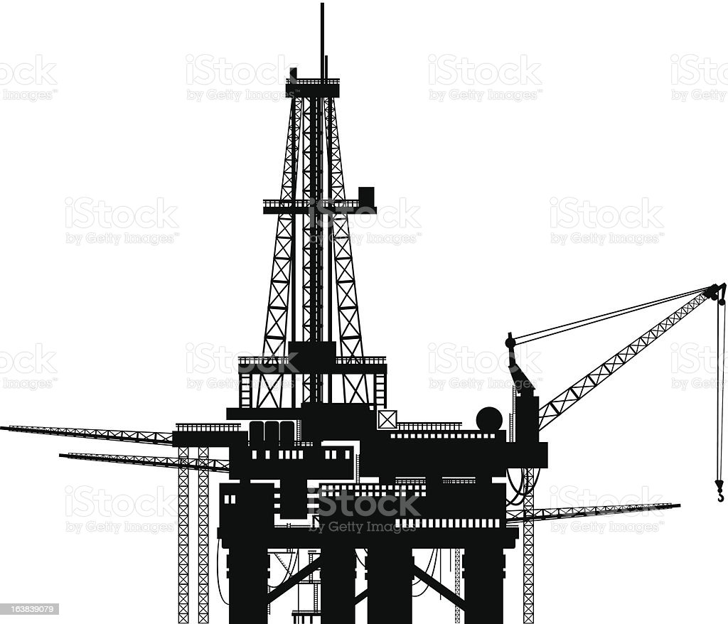 offshore platforms vector art illustration