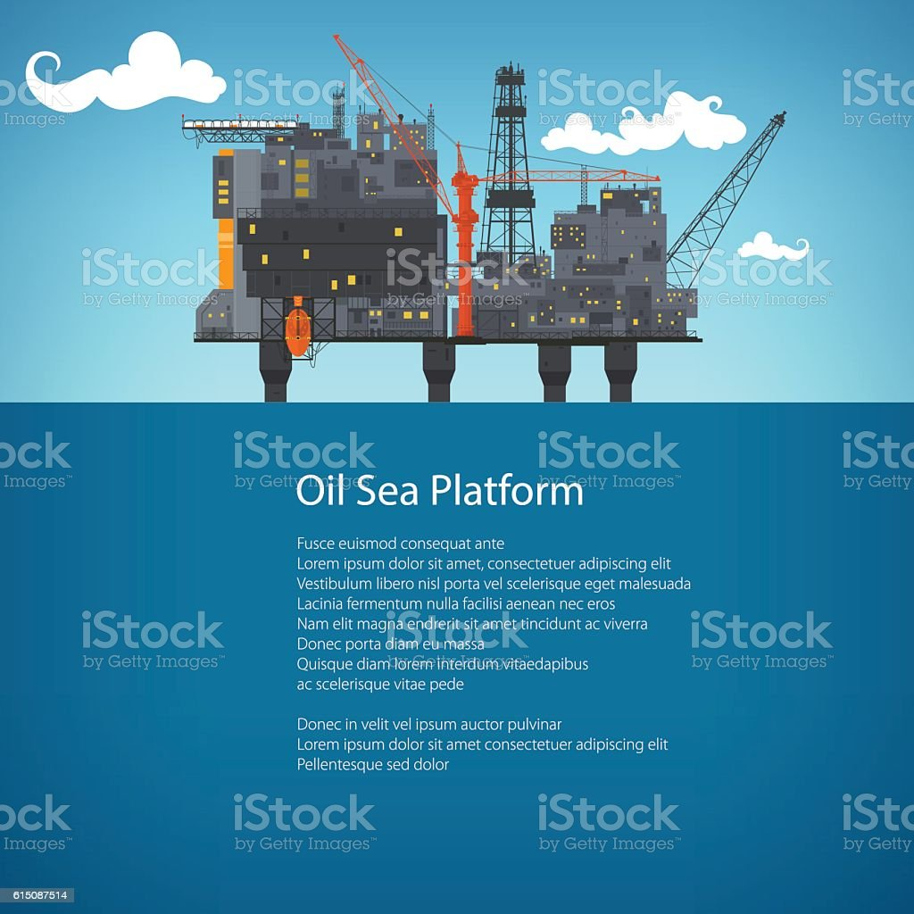 Offshore Sea Oil Platform Brochure Design vector art illustration