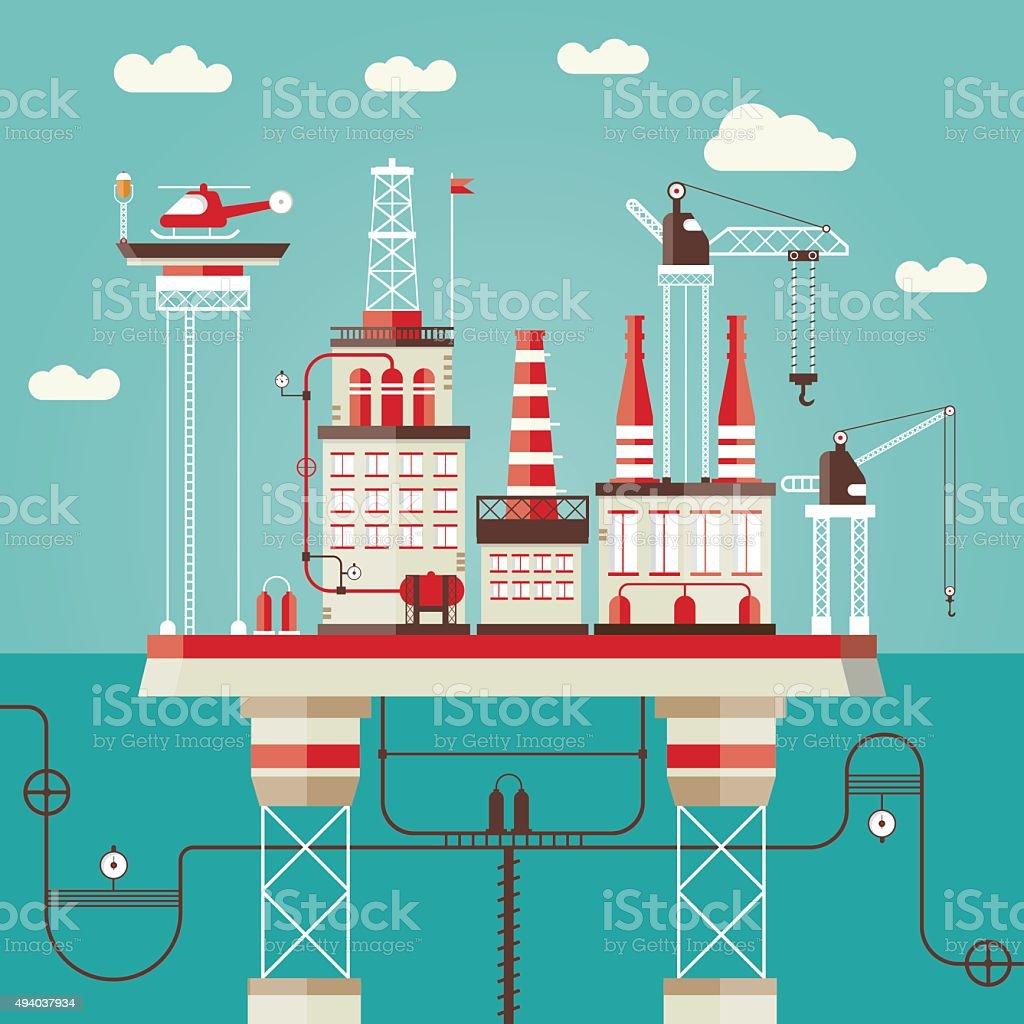 Offshore station vector art illustration