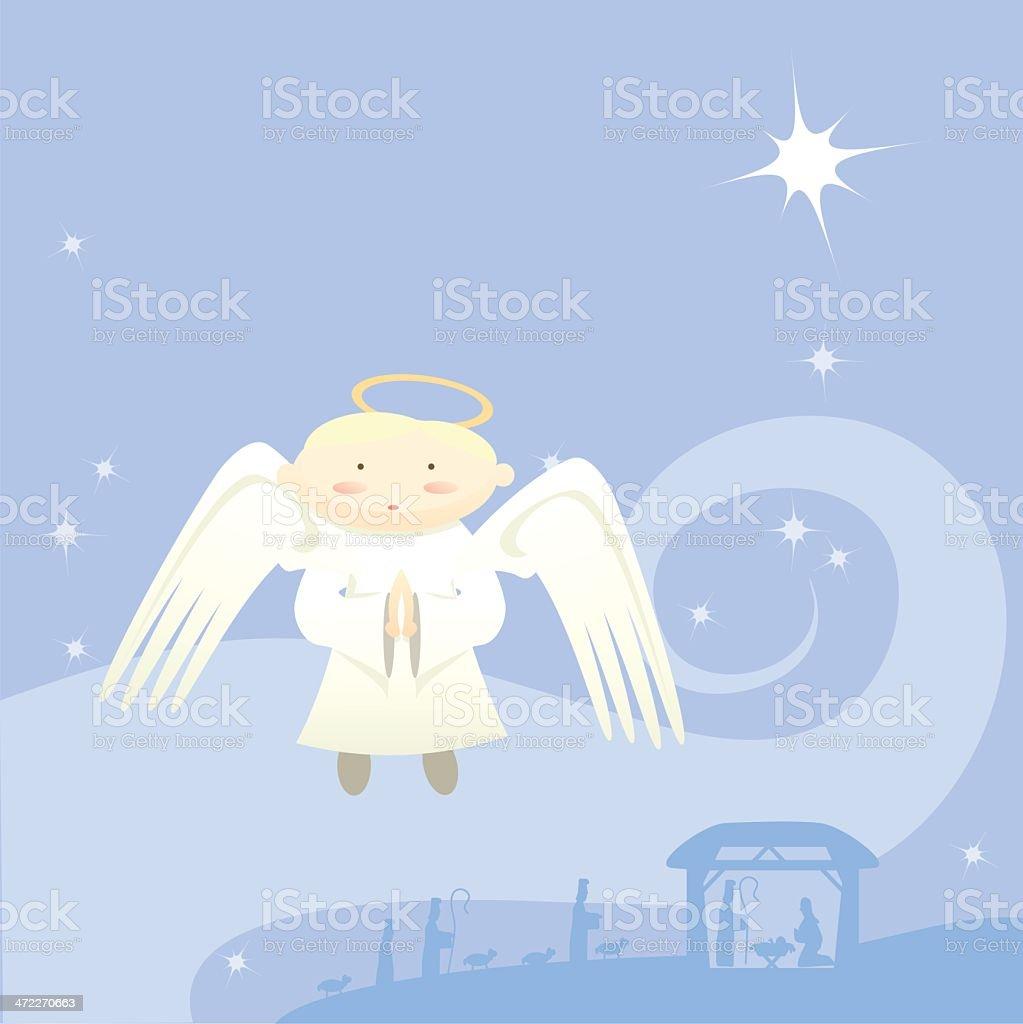 Oh holy night vector art illustration