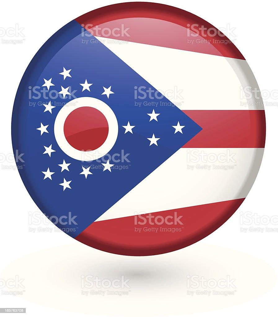 Ohio flag button vector art illustration