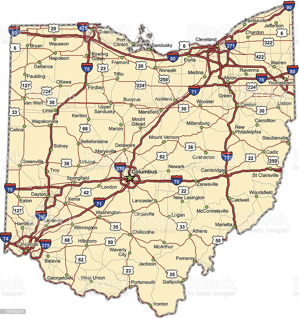 Ohio Highway Map (vector) vector art illustration