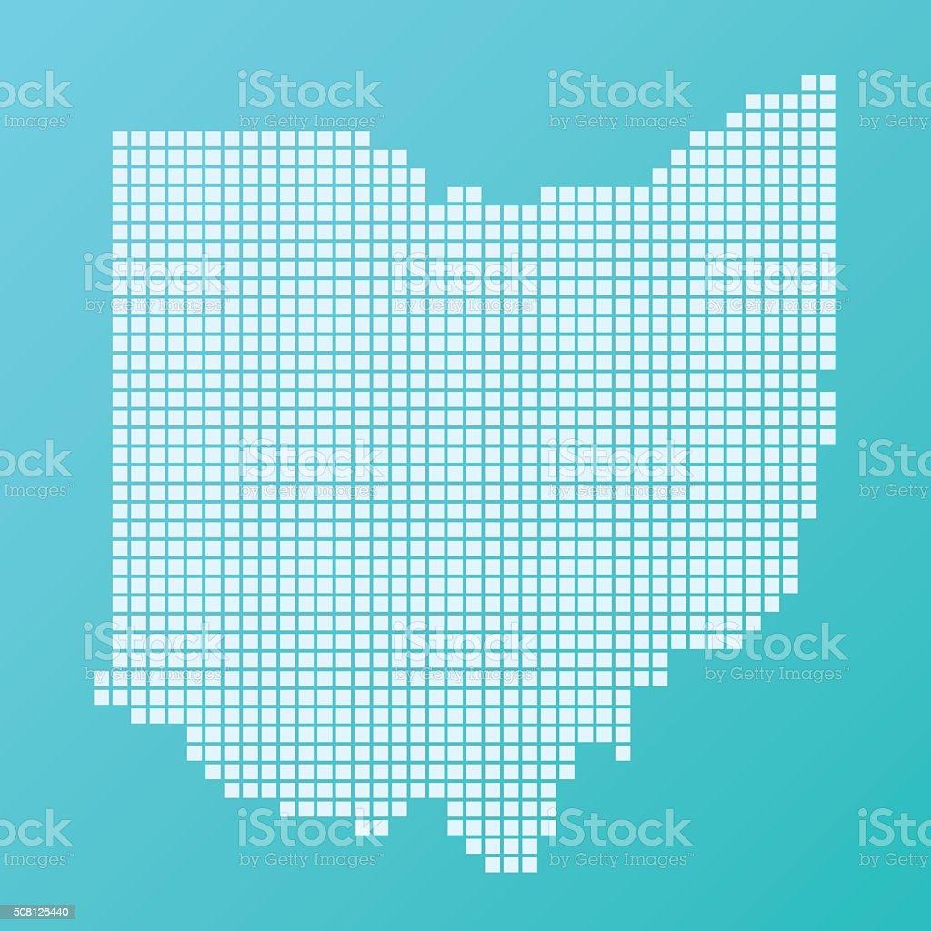Ohio Map Basic Square Pattern Turquoise vector art illustration