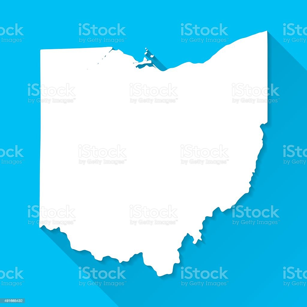 Ohio Map on Blue Background, Long Shadow, Flat Design vector art illustration