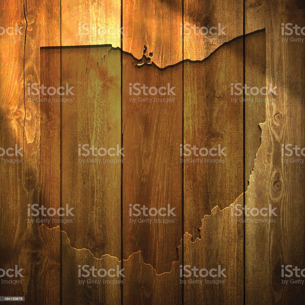 Ohio Map on lit Wooden Background vector art illustration