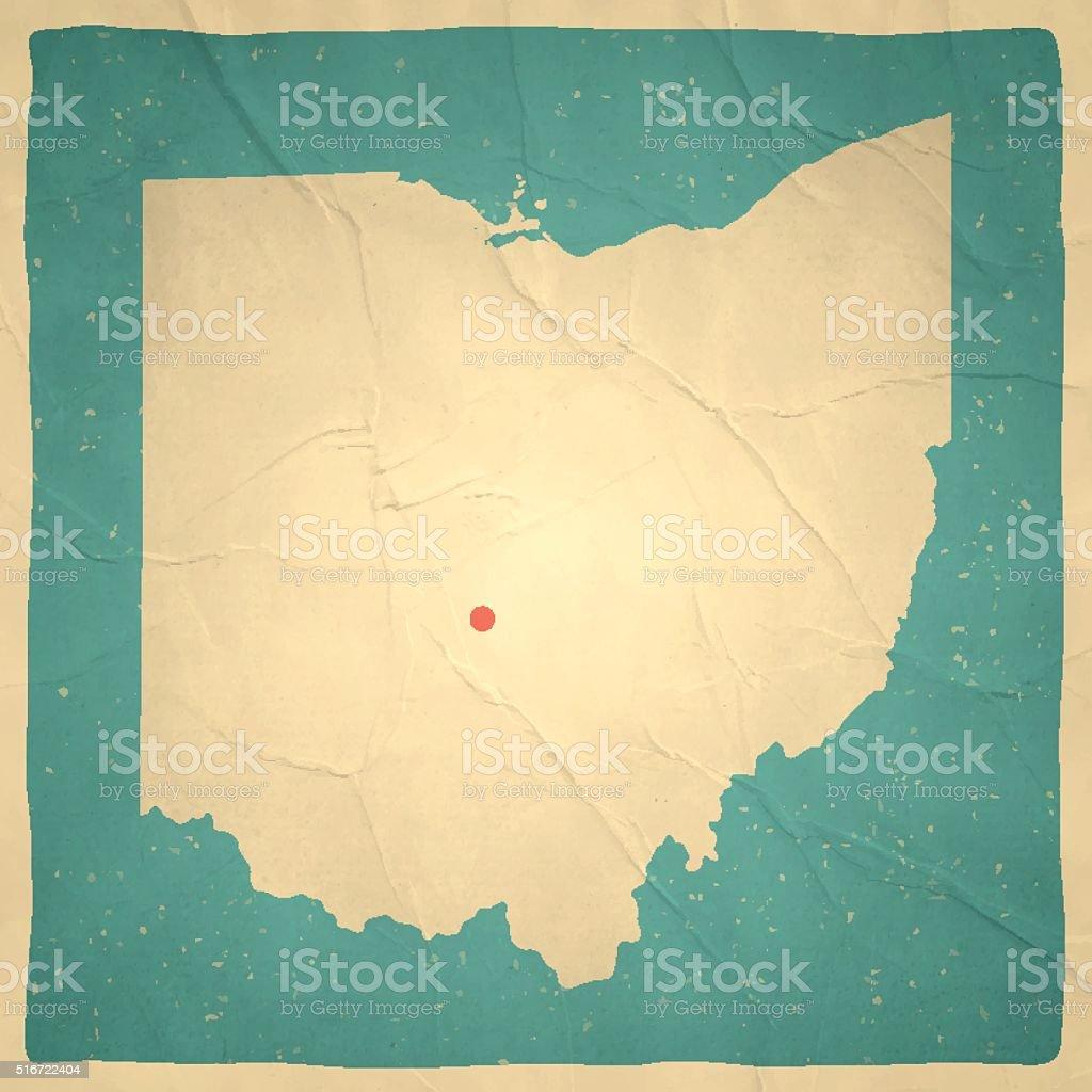 Ohio Map on old paper - vintage texture vector art illustration
