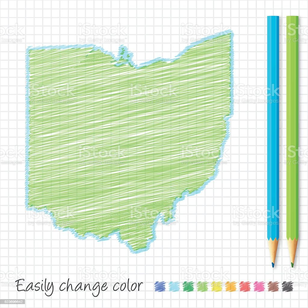 Ohio map sketch with color pencils, on grid paper vector art illustration