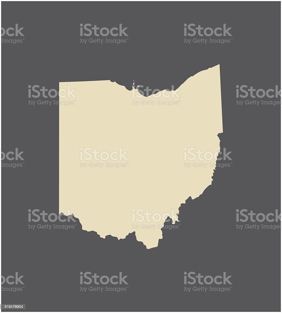 Ohio map vector outline vector art illustration