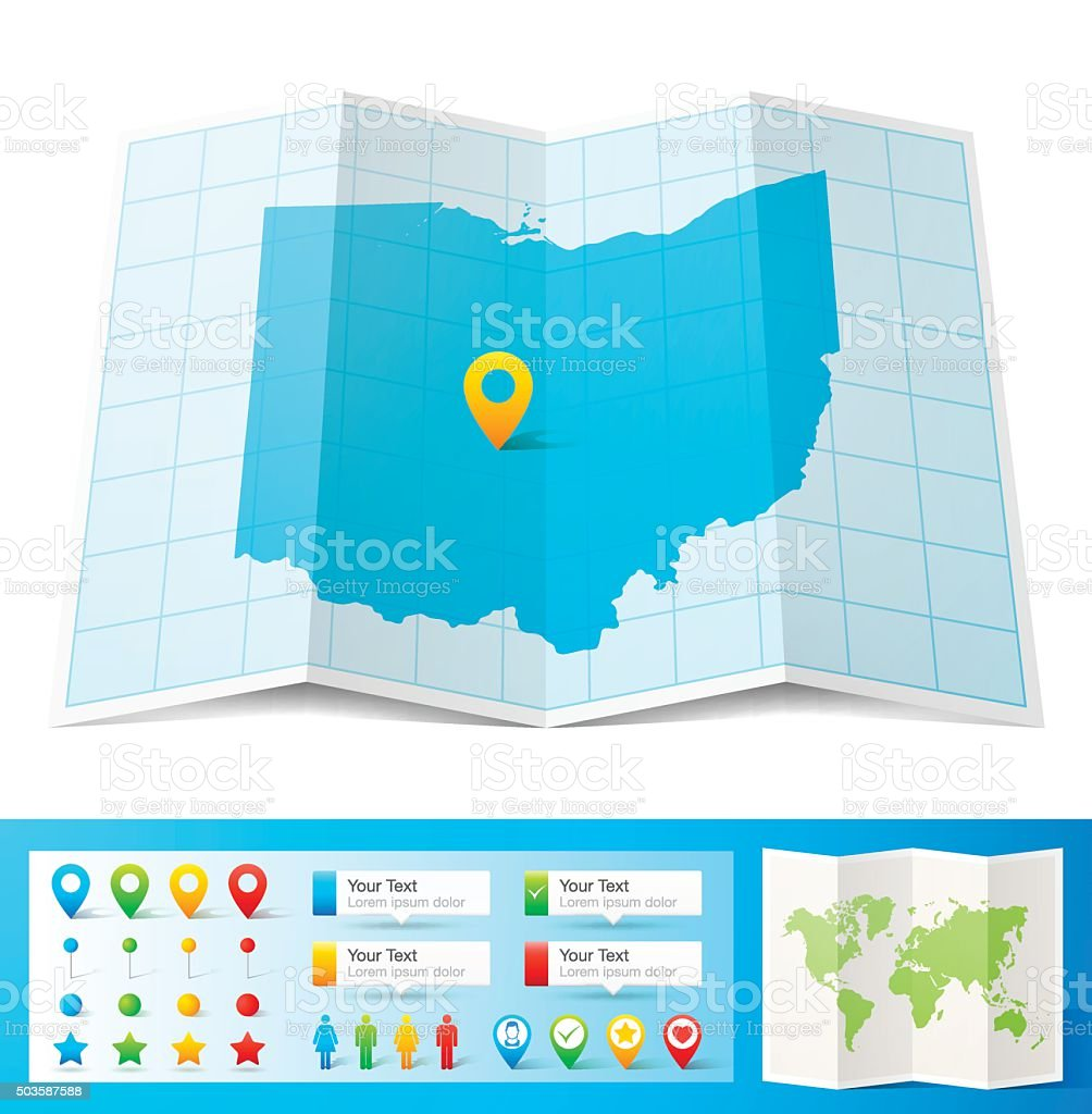 Ohio Map with location pins isolated on white Background vector art illustration