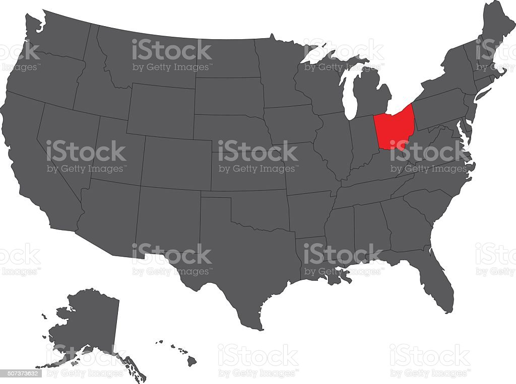 Ohio red map on gray USA map vector vector art illustration